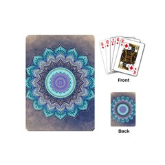 Folk Art Lotus Mandala Blue Turquoise Playing Cards (mini)  by EDDArt