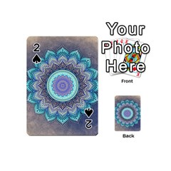 Folk Art Lotus Mandala Blue Turquoise Playing Cards 54 (mini)  by EDDArt