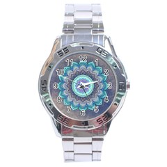 Folk Art Lotus Mandala Blue Turquoise Stainless Steel Analogue Watch by EDDArt