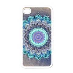 Folk Art Lotus Mandala Blue Turquoise Apple Iphone 4 Case (white) by EDDArt