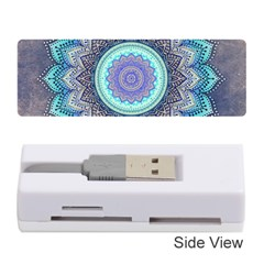 Folk Art Lotus Mandala Blue Turquoise Memory Card Reader (stick) by EDDArt
