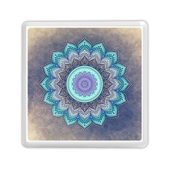 Folk Art Lotus Mandala Blue Turquoise Memory Card Reader (square) by EDDArt