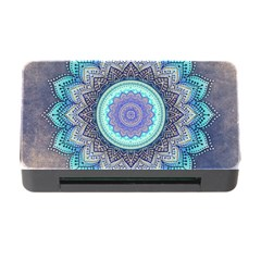 Folk Art Lotus Mandala Blue Turquoise Memory Card Reader With Cf by EDDArt