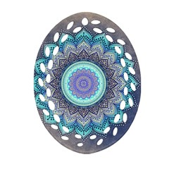 Folk Art Lotus Mandala Blue Turquoise Oval Filigree Ornament (two Sides) by EDDArt
