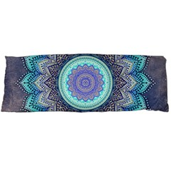 Folk Art Lotus Mandala Blue Turquoise Body Pillow Case Dakimakura (two Sides)