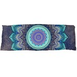 Folk Art Lotus Mandala Blue Turquoise Body Pillow Case Dakimakura (Two Sides) Front