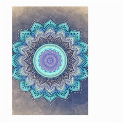 Folk Art Lotus Mandala Blue Turquoise Large Garden Flag (two Sides) by EDDArt