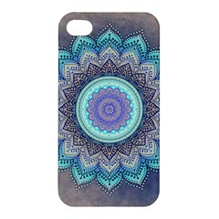 Folk Art Lotus Mandala Blue Turquoise Apple Iphone 4/4s Premium Hardshell Case by EDDArt