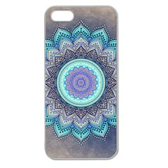 Folk Art Lotus Mandala Blue Turquoise Apple Seamless Iphone 5 Case (clear) by EDDArt