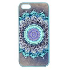 Folk Art Lotus Mandala Blue Turquoise Apple Seamless Iphone 5 Case (color) by EDDArt