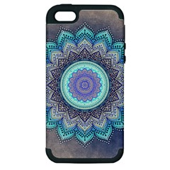 Folk Art Lotus Mandala Blue Turquoise Apple Iphone 5 Hardshell Case (pc+silicone) by EDDArt