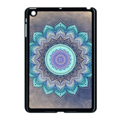 Folk Art Lotus Mandala Blue Turquoise Apple Ipad Mini Case (black) by EDDArt