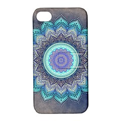 Folk Art Lotus Mandala Blue Turquoise Apple Iphone 4/4s Hardshell Case With Stand by EDDArt