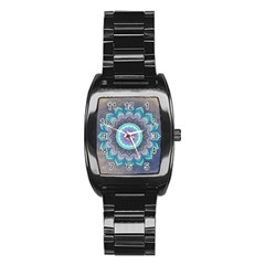 Folk Art Lotus Mandala Blue Turquoise Stainless Steel Barrel Watch by EDDArt