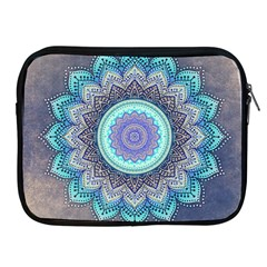 Folk Art Lotus Mandala Blue Turquoise Apple Ipad 2/3/4 Zipper Cases by EDDArt