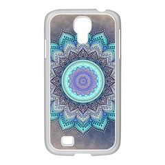 Folk Art Lotus Mandala Blue Turquoise Samsung Galaxy S4 I9500/ I9505 Case (white) by EDDArt