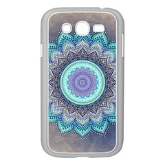 Folk Art Lotus Mandala Blue Turquoise Samsung Galaxy Grand Duos I9082 Case (white) by EDDArt