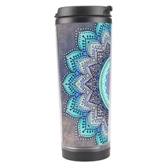 Folk Art Lotus Mandala Blue Turquoise Travel Tumbler by EDDArt