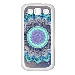 Folk Art Lotus Mandala Blue Turquoise Samsung Galaxy S3 Back Case (white) by EDDArt