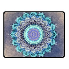 Folk Art Lotus Mandala Blue Turquoise Double Sided Fleece Blanket (small)  by EDDArt