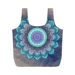 Folk Art Lotus Mandala Blue Turquoise Full Print Recycle Bags (m)  by EDDArt