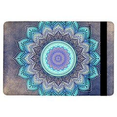 Folk Art Lotus Mandala Blue Turquoise Ipad Air Flip by EDDArt