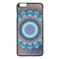 Folk Art Lotus Mandala Blue Turquoise Apple Iphone 6 Plus/6s Plus Black Enamel Case by EDDArt