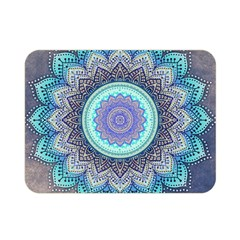 Folk Art Lotus Mandala Blue Turquoise Double Sided Flano Blanket (mini)  by EDDArt