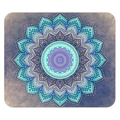 Folk Art Lotus Mandala Blue Turquoise Double Sided Flano Blanket (small)  by EDDArt