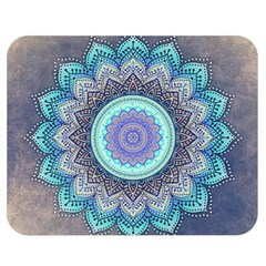 Folk Art Lotus Mandala Blue Turquoise Double Sided Flano Blanket (medium)  by EDDArt