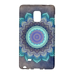 Folk Art Lotus Mandala Blue Turquoise Samsung Galaxy Note Edge Hardshell Case by EDDArt