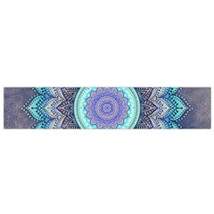 Folk Art Lotus Mandala Blue Turquoise Small Flano Scarf by EDDArt