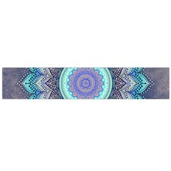 Folk Art Lotus Mandala Blue Turquoise Large Flano Scarf  by EDDArt