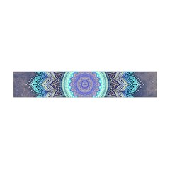 Folk Art Lotus Mandala Blue Turquoise Flano Scarf (mini) by EDDArt