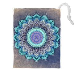 Folk Art Lotus Mandala Blue Turquoise Drawstring Pouches (xxl) by EDDArt