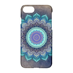 Folk Art Lotus Mandala Blue Turquoise Apple Iphone 7 Hardshell Case by EDDArt