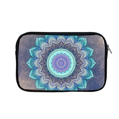 Folk Art Lotus Mandala Blue Turquoise Apple Macbook Pro 13  Zipper Case by EDDArt