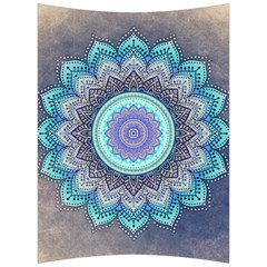 Folk Art Lotus Mandala Blue Turquoise Back Support Cushion by EDDArt