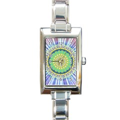 Power Mandala Sun Blue Green Yellow Lilac Rectangle Italian Charm Watch by EDDArt