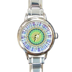 Power Mandala Sun Blue Green Yellow Lilac Round Italian Charm Watch by EDDArt