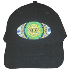 Power Mandala Sun Blue Green Yellow Lilac Black Cap by EDDArt