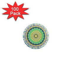 Power Mandala Sun Blue Green Yellow Lilac 1  Mini Magnets (100 Pack)  by EDDArt