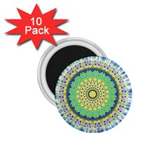 Power Mandala Sun Blue Green Yellow Lilac 1 75  Magnets (10 Pack)  by EDDArt