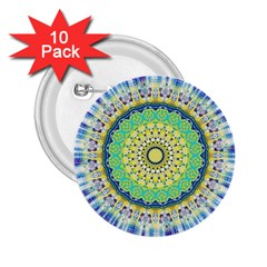 Power Mandala Sun Blue Green Yellow Lilac 2 25  Buttons (10 Pack)  by EDDArt