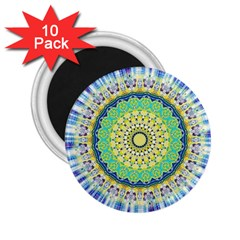 Power Mandala Sun Blue Green Yellow Lilac 2 25  Magnets (10 Pack)  by EDDArt