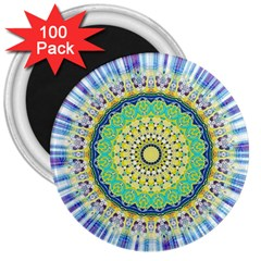 Power Mandala Sun Blue Green Yellow Lilac 3  Magnets (100 Pack) by EDDArt