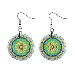 Power Mandala Sun Blue Green Yellow Lilac Mini Button Earrings by EDDArt