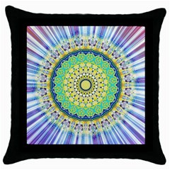 Power Mandala Sun Blue Green Yellow Lilac Throw Pillow Case (black) by EDDArt