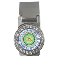 Power Mandala Sun Blue Green Yellow Lilac Money Clips (cz)  by EDDArt