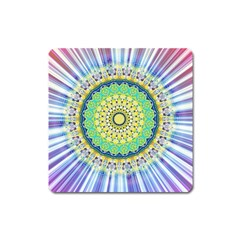 Power Mandala Sun Blue Green Yellow Lilac Square Magnet by EDDArt